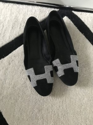 Hermès Ballerinas with Toecap black-light grey leather