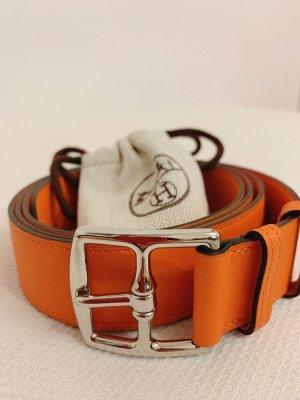 Hermès Cintura di pelle arancione scuro Pelle