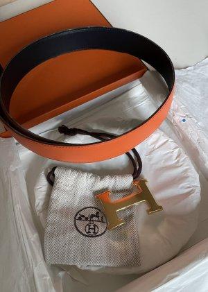 Hermès Cinturón de cuero naranja Cuero