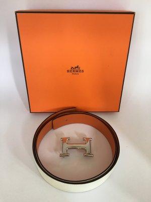 Hermès Gürtel Wendegürtel mit silberner Schliesse 80 Weiß Orange