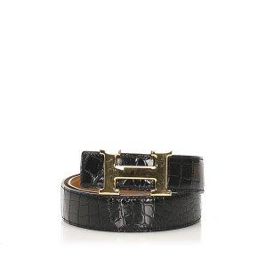 Hermès Cinturón negro Cuero