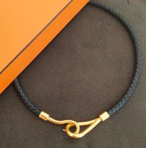 Hermès Collar negro-color oro Cuero