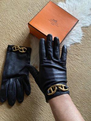 Hermès Guantes de cuero negro-color oro Cuero