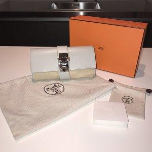 Hermes Hermès Medor 23 Clutch Box Leder Chèvre Gris Perle Grau wie neu mit Box und Staubbeutel