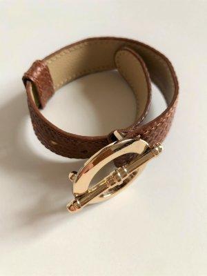 Bracelet en cuir doré-brun cuir