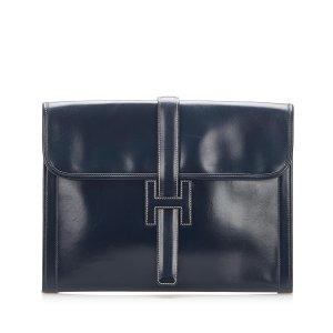 Hermes Jige GM Leather Clutch Bag
