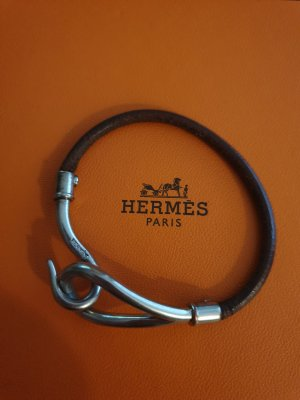 Hermès Leather Bracelet silver-colored-dark brown leather