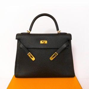 Hermès Kelly Bag 32 schwarz GHW sehr guter Zustand Togo Leder komplettes Set