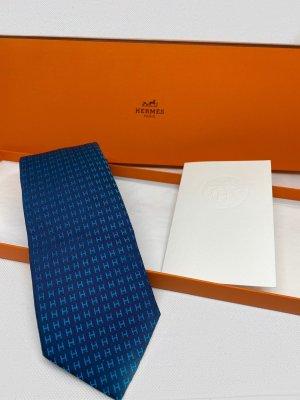 Hermès Cravate ascot bleu-bleu fluo soie