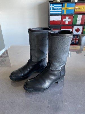 Hermès Laarzen met bont zwart-leigrijs