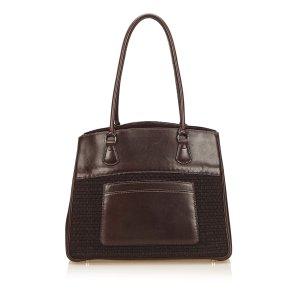 Hermes Leather Trim Tote Bag