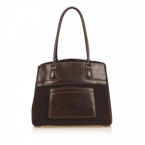 Hermes Leather Trim Tote Bag