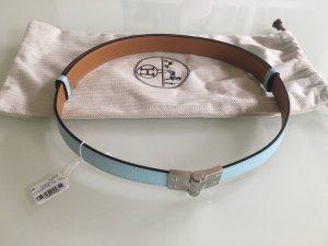 Hermès Cinturón de cuero turquesa-marrón claro