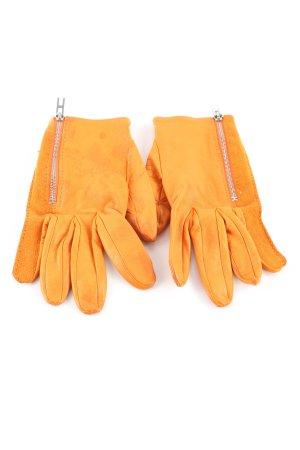 Hermès Guantes de cuero naranja claro estilo «business»