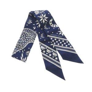 Hermès Bufanda azul Seda