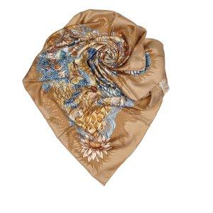 Hermès Sjaal bruin Zijde