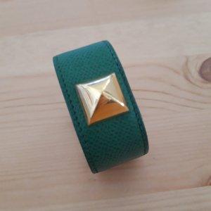 Hermès Bracelet en cuir doré-vert forêt