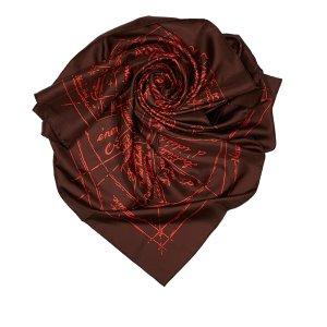 Hermès Sjaal donkerbruin Zijde