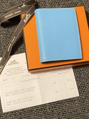 Hermès Etui na karty niebieski-stalowy niebieski Skóra