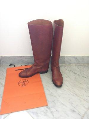 Hermès Buty jeździeckie ciemny pomarańcz