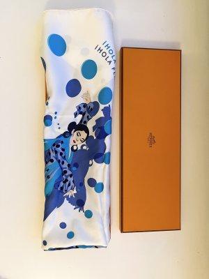 Hermès Zijden doek wit-blauw
