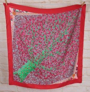 Hermes Paris Seidentuch Carree Tuch Schal Seide Rot Grau Grün Blätter Baum Herbst Axis Mundi
