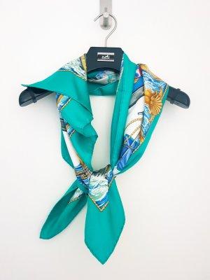 Hermès Sciarpa lavorata a maglia turchese-blu cadetto