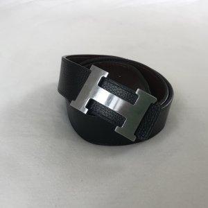 Hermès Double Belt black-black brown