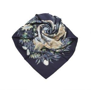 Hermès Bufanda azul oscuro Seda