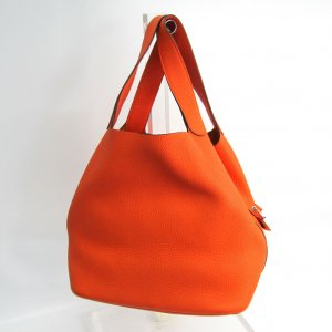 Hermès Picotin GM 26 cm Clemence Orange Silberware Box Dustbag Neu