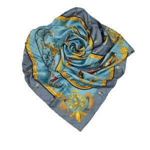 Hermès Sjaal lichtblauw Zijde