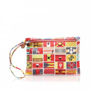 Hermes Printed Silk Pouch