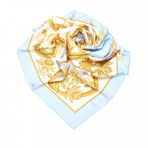 Hermès Scarf light blue silk