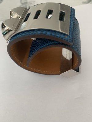 Hermès Bracelet neon blue-silver-colored leather
