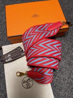 Hermès Schulterriemen Zigzag 50mm rot/blau- wie neu!