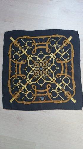 Hermès Panno di seta oro-blu scuro