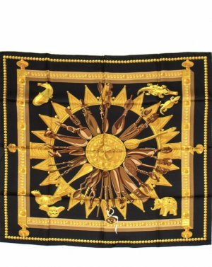 Hermès Sciarpa di seta nero-giallo scuro Seta