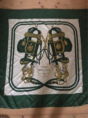 Hermès Panno di seta verde bosco-bianco sporco