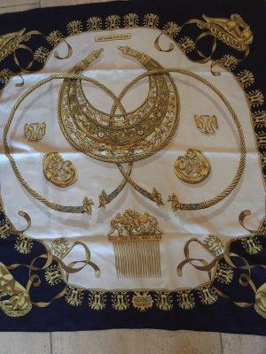 """Hermes Seidentuch """"Les Cavaliers D'Or"""" blau und weiss"""