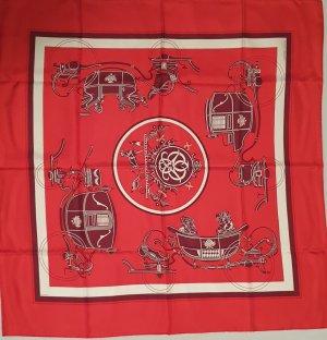 Hermès Silk Scarf neon red silk