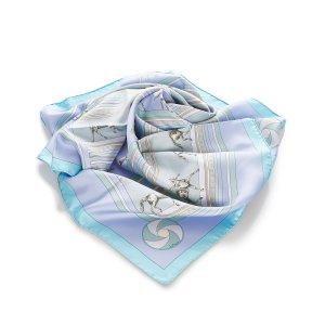 Hermès Bufanda azul claro Seda