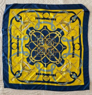 Hermès Jedwabny szal żółty-niebieski