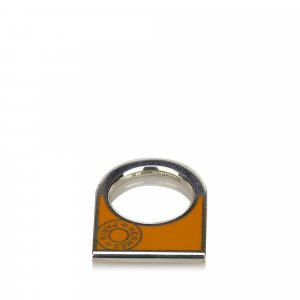 Hermes Silver and Orange Scarf Ring