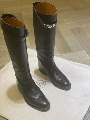 Hermès Riding Boots black-silver-colored