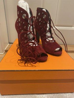 Hermès Bottines à lacets rouge carmin