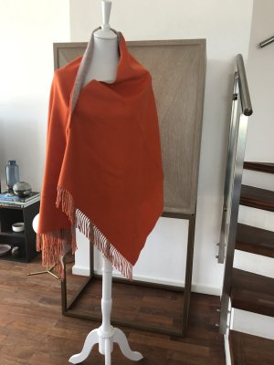 Hermès Stole neon orange-oatmeal cashmere