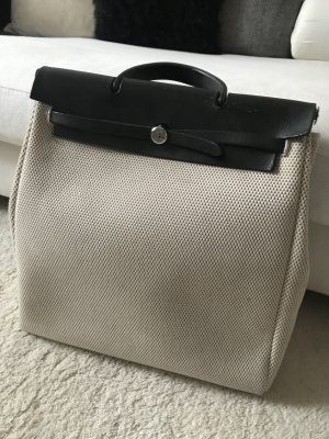 Hermes Tasche unisex Leder Canvas Schwarz Beige