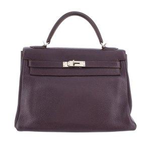 Hermès Satchel paars Leer