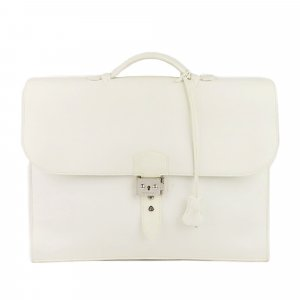 Hermès Bolso business blanco Cuero