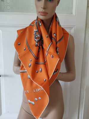 Hermès Zijden doek oranje-donkergrijs Zijde